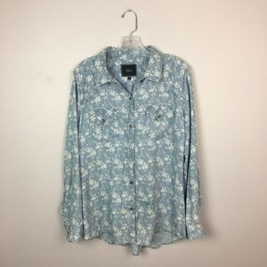 Rails chambray button down blue and white floral M